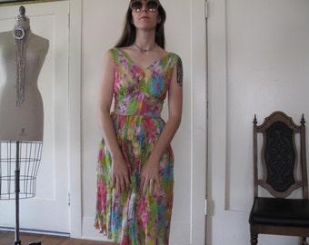 60's Floral Sheer Dress sz Sm