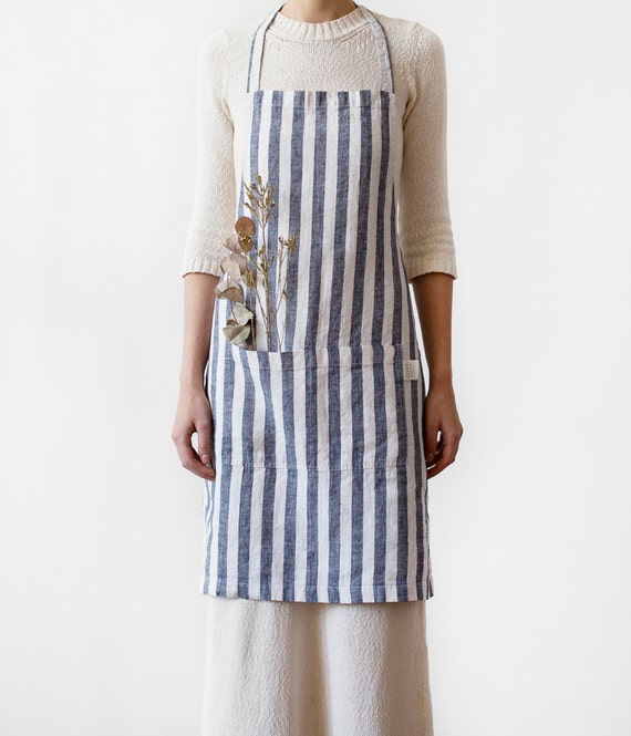 Wide Black Stripes Stone Washed Linen Apron By LinenTales