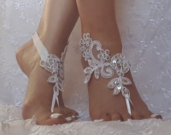 Lace white or ivory   silver sequins finished barefoot sandals shoe elegant beach wedding Handmade bridal bridesmaid party jubilee prom