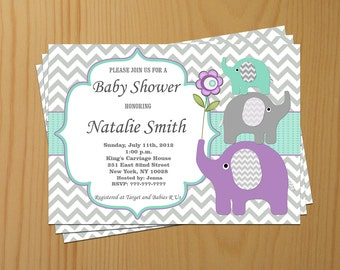 Elephant Baby Shower Invitation Gender Neutral Baby Shower Invites Baby Shower Invitations Editable File -FREE Thank You card (12) download