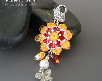 Lampwork bead pendant  |  made by silke  |  Silke's Sunshine  |  art glass  |   floral