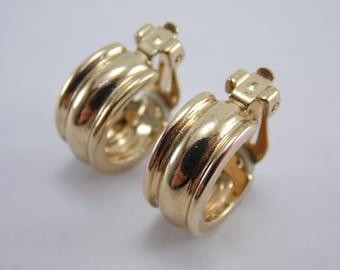 """Vintage Signed """"Chaps"""" Goldtone Semi Hoop Clip On Earrings"""
