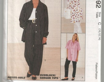 UNCUT 8092 McCalls Sewing Pattern Womens Front Button Shirt & Pull On Pants Size 10 12 14