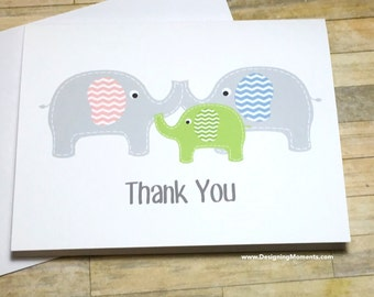 Baby Elephant Thank You Note Card Set, Gender Neutral Elephant Baby Shower Thank You Cards, Elephant Thank You Cards, Gender Neutral Cards