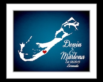 custom bermuda map, wedding gift, anniversary, wedding shower gift groom bride state art love heart tropical honeymoon wall art print poster