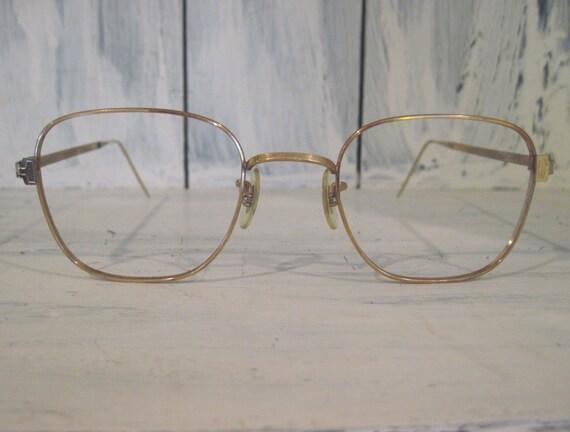 10k Gold Eyeglass Frames : Vintage mid century style 10K gold filled golden color metal