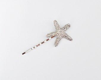 Set Of 1 Silver Starfish Bobby Pin - Hair Clip - Beach Hair - Nautical Accessory - Mermaid Hair - Cute Hair Pin - Hair Accessories