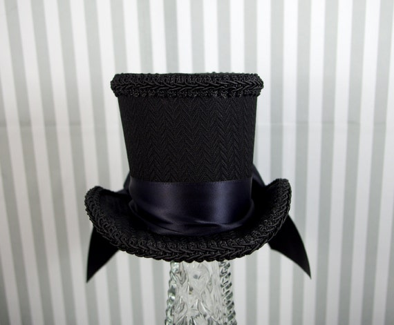 Black on Black Brocade with Bow Minimalist Medium Mini Top Hat Fascinator, Alice in Wonderland, Mad Hatter Tea Party, Derby Hat