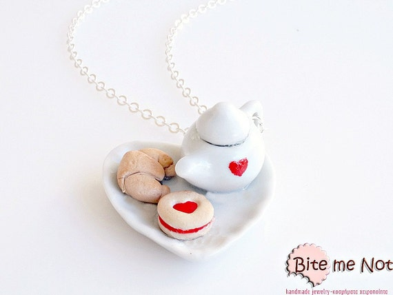 Tea pot, Croissant and Marmalade Biscuit Necklace, Jam Cookie, Mini Croissant, Linzer Cookie, Food Jewelry, Cookies Jewelry