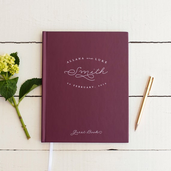 Rustic Wedding Guest Book Wedding Guestbook Custom Guest Book Personalized classic design wedding gift keepsake reception sign in book wine