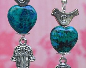 Hamsa earrings. Turquoise Chryscolla hamsa earrings. Evil eye earrings. Heart earrings. Dove earrings,. Hannuka earrings. Peace earrings.