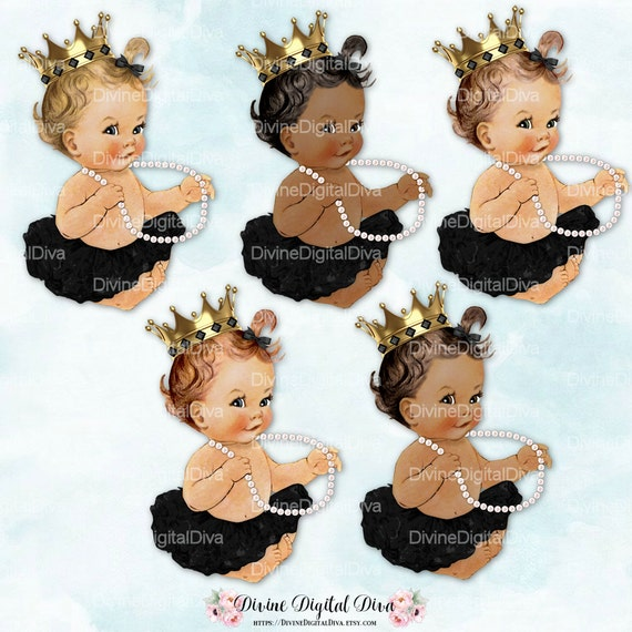 Ballerina Princess Baby Gold Crown Pearls Black Tutu