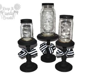 Black and White Mason Jar Apothecary Jars, Black and White Decorative Jars, Home Decor, Shabby Chic, Candy Buffet, Mason Jar Candy Buffet