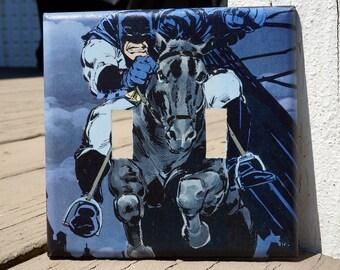 Batman Light Switch Cover | Dark Knight Returns | DC Comic Book Page | Man Cave, Comic Book, Superhero Fan, Father's Day | Batman on a Horse