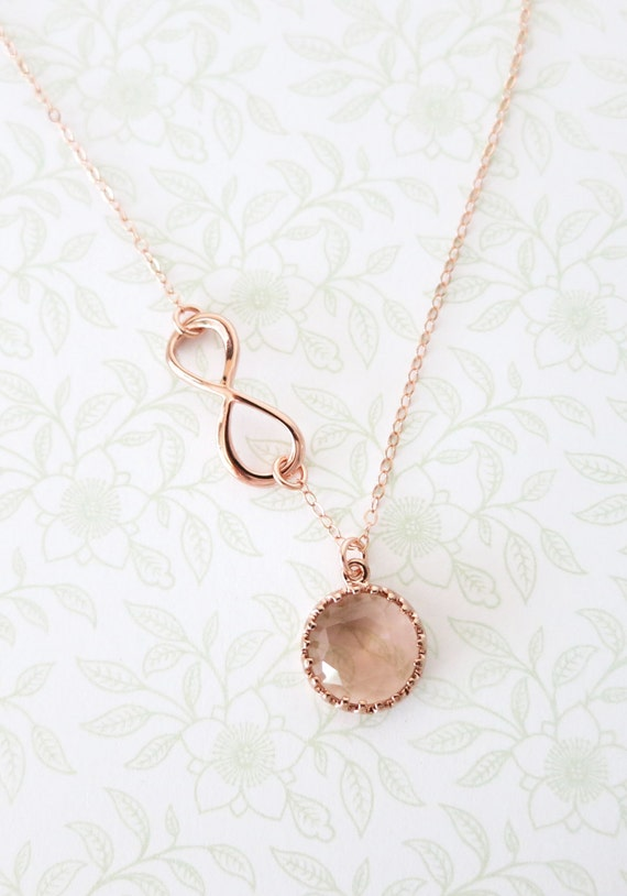 Rose Gold Champagne Round Glass drop Infinity Lariat, Y Necklace, sister, best friends, mom, bridal bridesmaid necklace, rose gold weddings