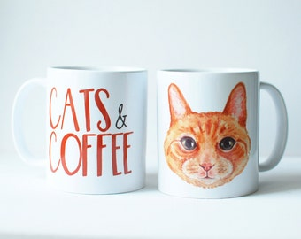 Cat Themed Gift - Ginger Cat Lover - Cute Ginger Cat -  Cats And Coffee - Coffee Mug - Coffee Themed Gifts - Crazy Cat Lady