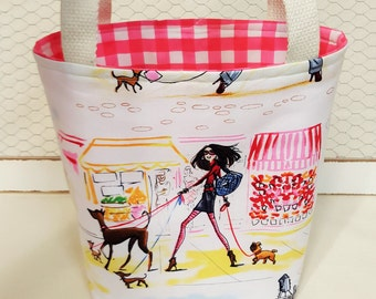 Small tote bag, Fabric tote, Lunch bag