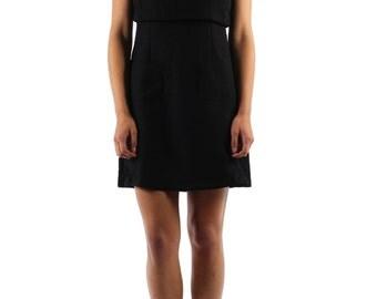 Black Jacquard Cotton Flared Dress.
