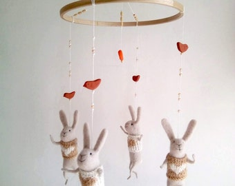 Off white bunny mobile, Baby Crib mobile, Nursery Decor