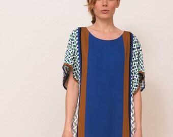 Tunic dress bold blue ethnic pattern