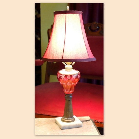 victorian lamp cranberry glass ruby glass bedroom lighting