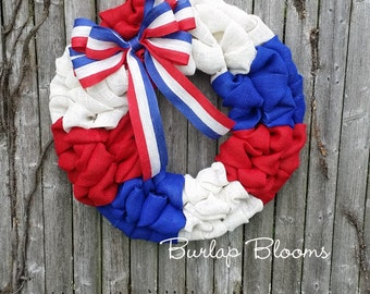 Burlap Wreath, 4th of July Wreath, Patriotic Wreath, Memorial Wreath, Red White and Blue Wreath, Front Door Wreath