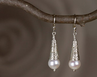 Pearl Earrings in Sterling Silver - Dangle & Drop Pearl Earrings with Natural Freshwater Pearls and Hammered Cones - 00257 - allotria