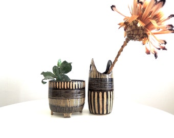 Black and tan striped speckled stoneware vase with handles, ceramic vase