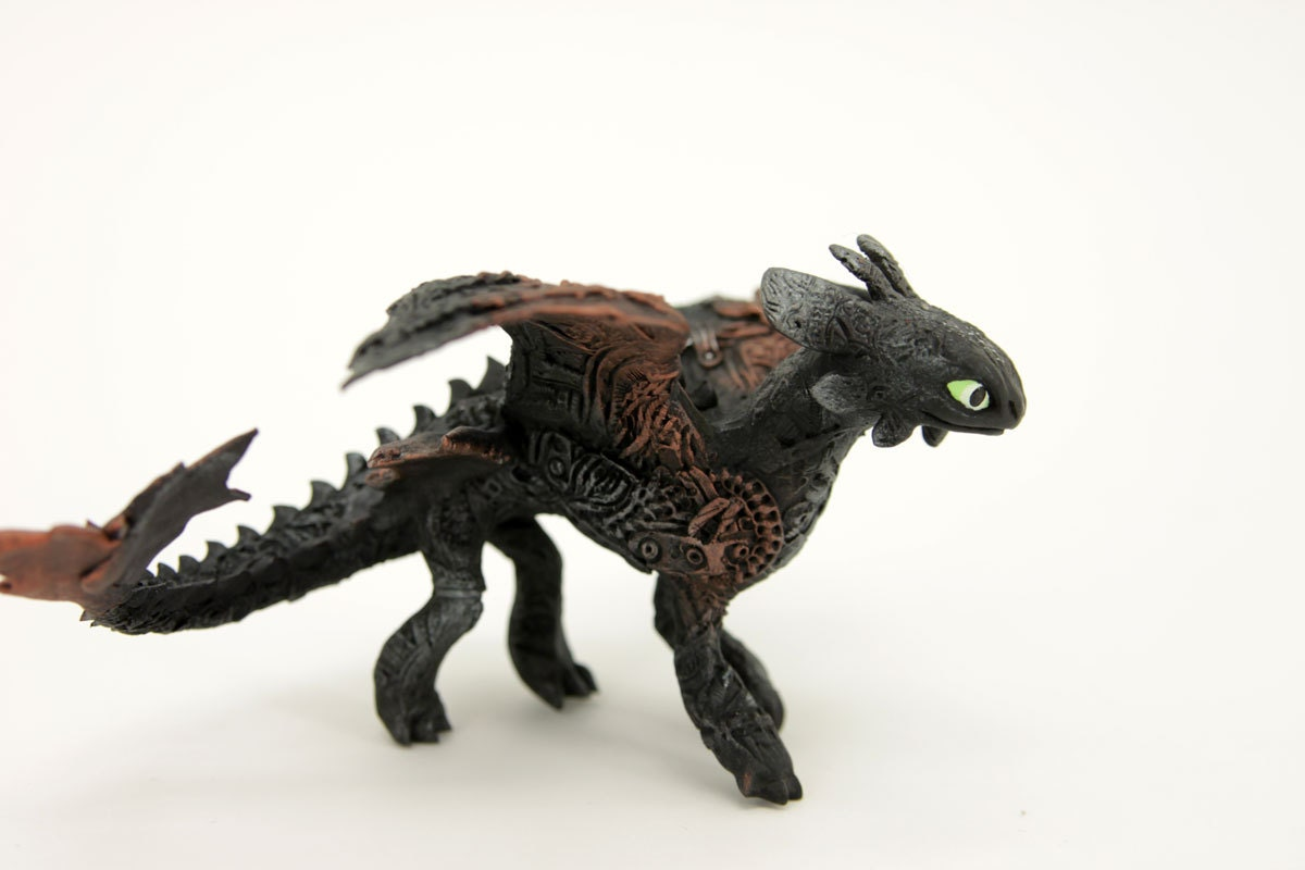 Steampunk baby toothless night fury dragon sculpture httyd - Fury nocturne ...