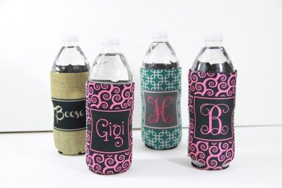 Custom Water Bottle Sleeve Monogram Personalized Bottle Holder Insulator for 16.9 Oz Water Bottles Best Friend Gift Monogrammed Student Gift