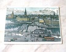 Vintage Unused Swedish postcard View from Katarina Lift Linocut by Svenolov Ehren Stockholm Sweden World Philatelic Exhibition 1986 SKU D