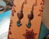 Healing Hands Spiral Earrings Mom Sister Wife Nurse Massage Therapist Reiki Healing Chakra Balance Herbal Medicine Woman Artist Gift Om Love