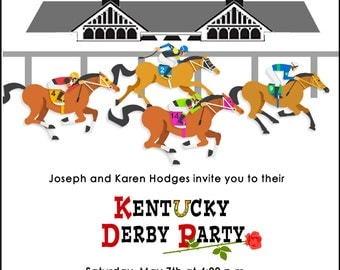 Kentucky Derby  Party Invitation,  Run for the Roses Invitation, Horse Race,  Churchill Downs, Race Track, Jockeys, Printable