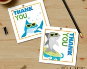 Chomp Chomp Surfing Sharks Pool Birthday Party Thank You Tags, Print at Home, Printable No. I280