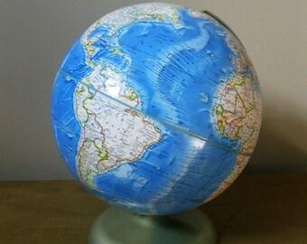 Vintage Rand McNally Globe- International Globe - circa 1978-1984 - Metal Stand- Aqua Blue- Excellent Condition- Office decor- retro decor