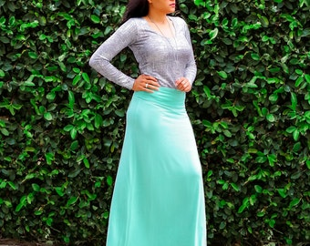 Maxi Skirt / A Line Flared Skirt / Foldover Waistband / Womens Long Skirt / Full Ankle Length Skirt / petite / tall / plus size /custom size