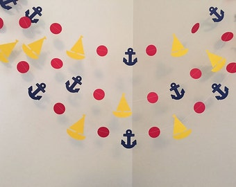 anchors and sailboats paper garland ahoy itu0027s a boy nautical baby shower decorations custom colors your