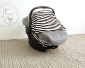 Infant Car Seat Cover - BLACK/WHITE STRIPE - Baby Carrier Cover - Carseat Cover - Stretchy