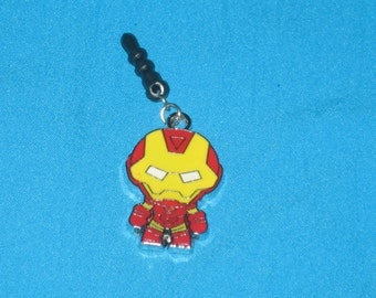 Iron Man Cell Phone Dust Plug Charm Attached