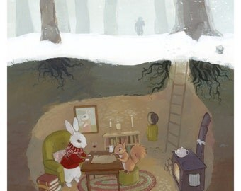 Rabbit and Squirrel Burrow Painting - Childrens Book Illustration