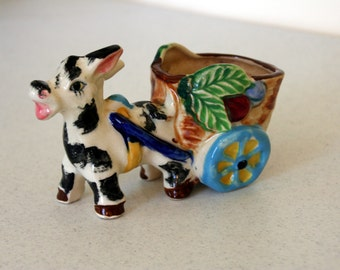 Black and white donkey planter-cart with blue wheels-made in Japan