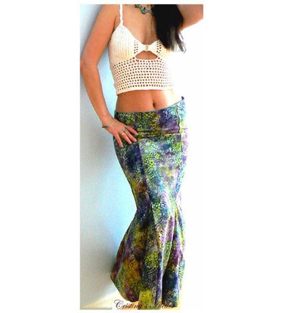 Green mermaid skirt- Watercolor print skirt -Occasions, evening, party, homecoming sexy skirt- Print fashion maxi skirt- Fitted cotton skirt