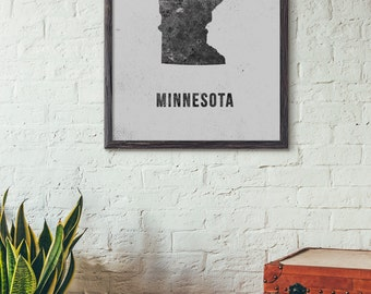 Minnesota Map Art Printable, Loft, Modern Map Art, Printable State Map Art, Map Poster, New Year Gift, Christmas Gift, Cozy Rustic, E023