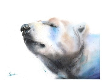 WATERCOLOR POLAR BEAR print - polar bear artwork, polar bear painting, polar bear gifts, polar bear portrait, polar bear decor, bear lover