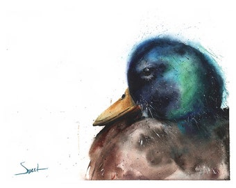 MALLARD DUCK WATERCOLOR - duck artwork, bird decor, bird art collector, bird artwork, watercolor bird, wild duck painting, oregon duck