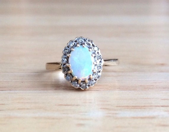 Art Deco Opal Engagement Ring 9ct Yellow White Gold Halo