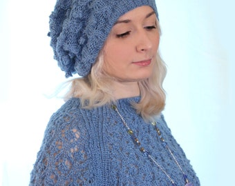 "Knitted Hat/cap ""Evening sky"""
