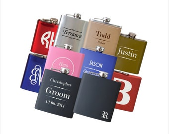 TEN Personalized Flasks, Personalized Flasks for Men, Custom Engraved Flask, Custom Hip Flask Gift for Men, Boyfriend Gift, Wedding Favors