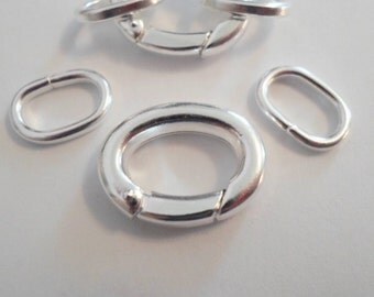 1 Silver 20x16mm Self Closing Hinged Clasp with Oval Jumprings