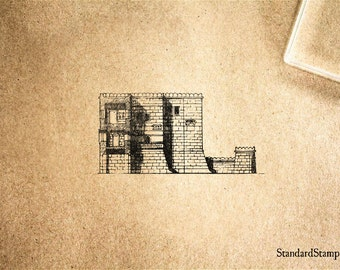 Castle Walls Rubber Stamp - 2 x 2 inches
